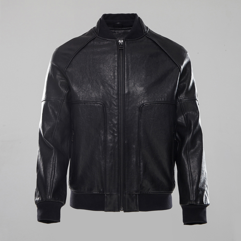 Factory 2020 Men's Genuine Leather Jacket Vegetable Tanning Black Sheepskin Short Bomber Motorcycle Biker Jackets Winter Coats