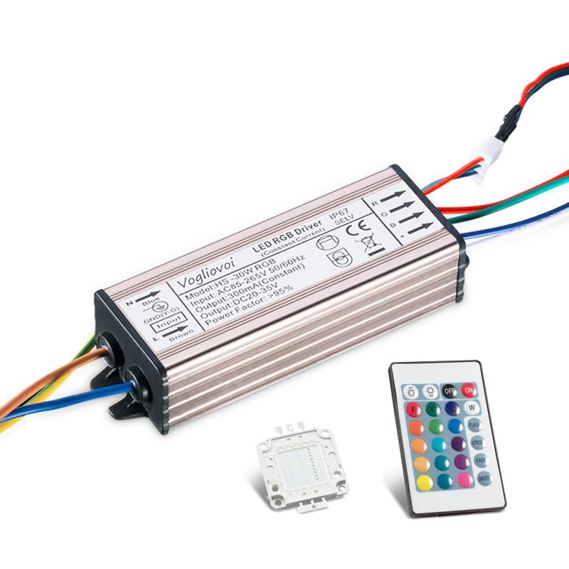 Vogliovoi 30 Вт dmx RGB драйвер AC85-265V Водонепроницаемый Алюминий серебро с памятью 24Key контроллер + 30Mil 300mA чип для прожектора лампы