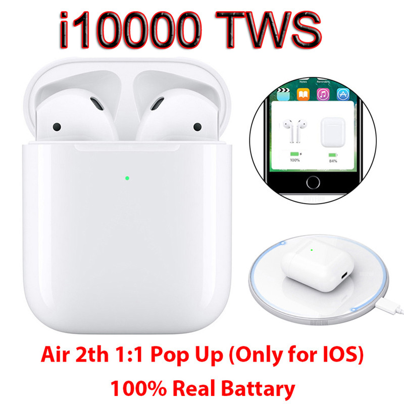 Updated 2019 I10000 TWS 1:1 Wireless Bluetooth Headsets Earphones Twsi10000 For IPhone Android Not I20 I30 I60 I1000 I200 Tws