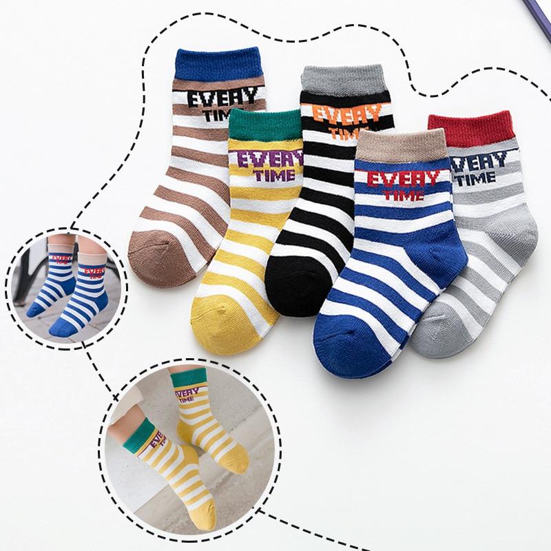 Children 39 s cotton socks autumn winter new stocking tube socks for children boy girl baby socks stripe letters for children socks in Socks from Mother amp Kids