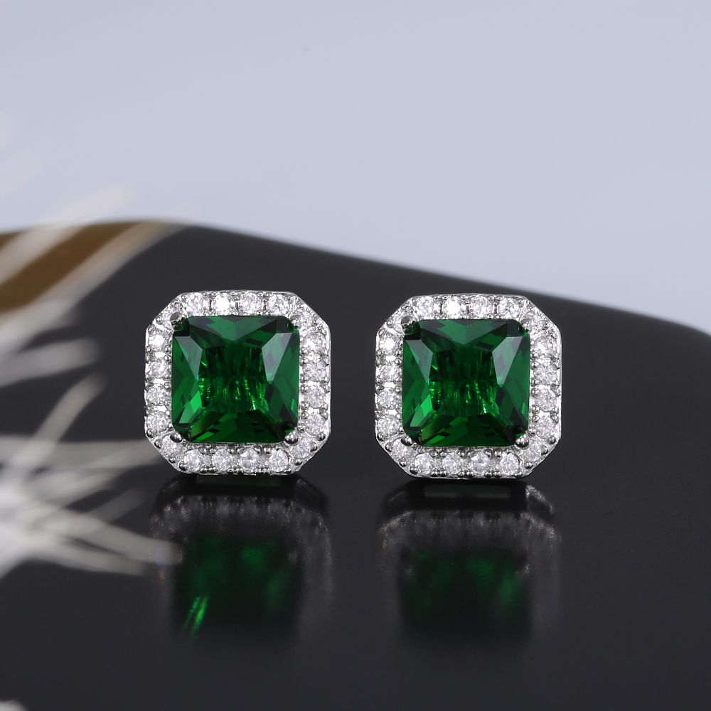 Huitan Rectangle/Square Green Cubic Zircon Stud Earrings Women Elegant Party Accessories Anniversary Gift Lady Timeless Earrings