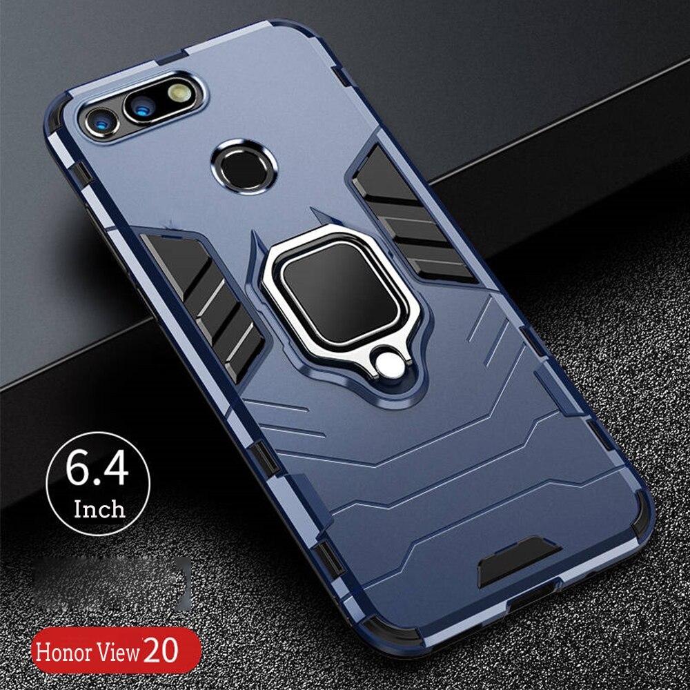 Para Honor View 20 funda armadura PC cubierta dedo anillo titular teléfono caso para Huawei Honor View20 V20 funda resistente a golpes parachoques