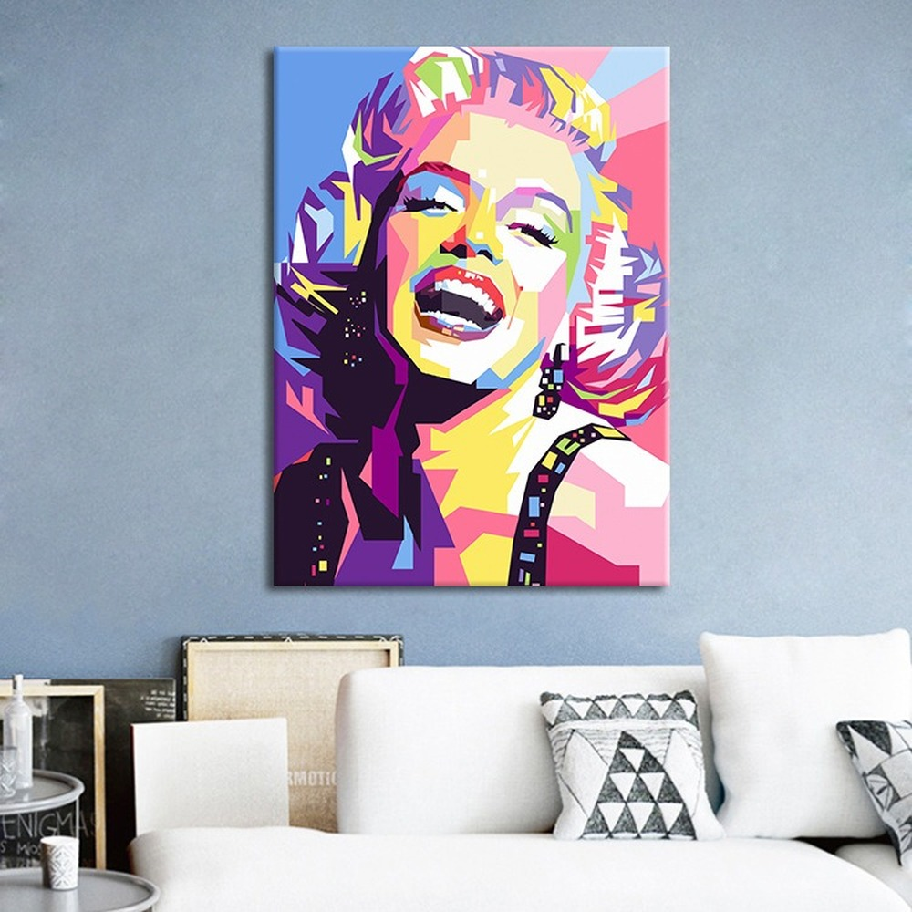 Watercolor Geometric Sexy Woman Canvas Painting Cassic Actress Marilyn Monroe Posters Cuadros Decoracion Dormitorio Salon image