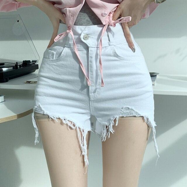 Vintage Ripped Jeans Shorts Women Plus Size High Waist Denim Shorts Female Summer Chic Streetwear Stylish Sexy Hot Shorts Girls 3
