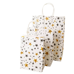 10 Pcs 25x18cm High Quanlity Bronzed Star Striped Kraft Paper Bag DIY Multifunction Festival Gift Paper Bag With Handles