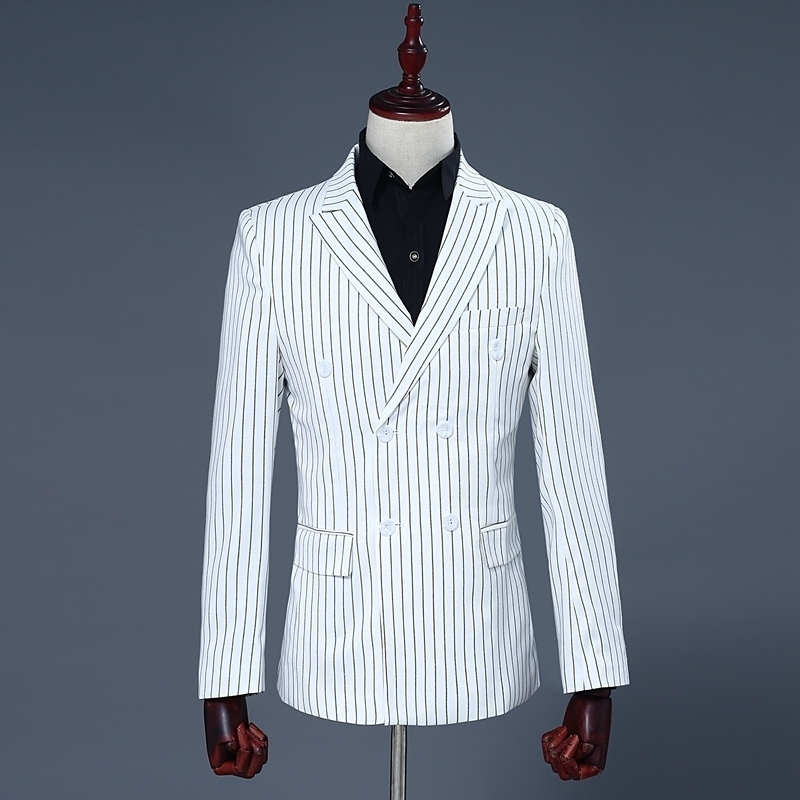 Brand Luxury Mens White Double Breasted Blazer Coat Stripe Pants Two Piece Suit Set Male Slim Fit Wedding Party Suits Set S-2XL