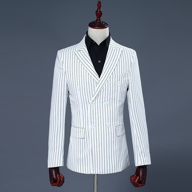 Brand Luxury Mens White Double Breasted Blazer Coat Stripe Pants Two Piece Suit Set Male Slim Fit Wedding Party Suits Set S-2XL