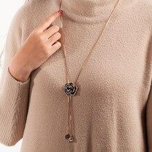 Zircão quente rosa flor colar mulher longa camisola corrente moda metal corrente de cristal flor pingente menina apertado colares jóias