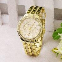 Relógio de ouro em aço luminoso masculino wom|  -