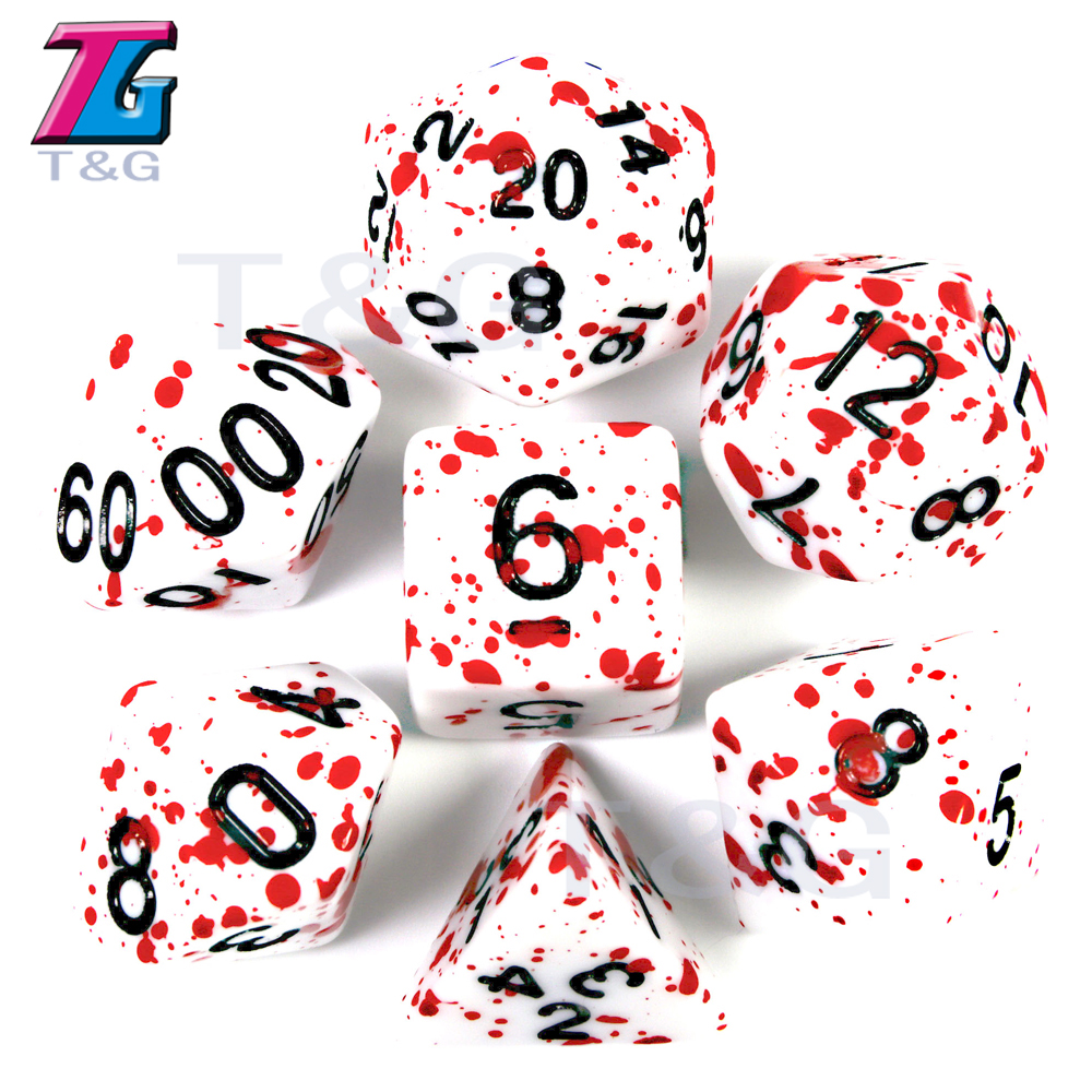 7Pcs/Set Polyhedral Dice With Dice Bag TRPG Games For Dungeons Dragons Opaque D4-D20 Multi Sides Dice Pop For BoardGame