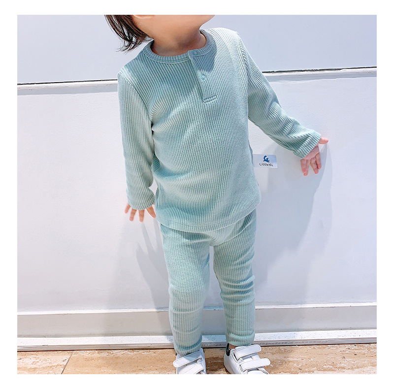 Soft Ribbed Toddler Girl Pajamas For Baby Boys Clothes Set Autumn Winter Children Outfits Long Sleeve Tops Pants 2 Pcs Kids Suit (19)