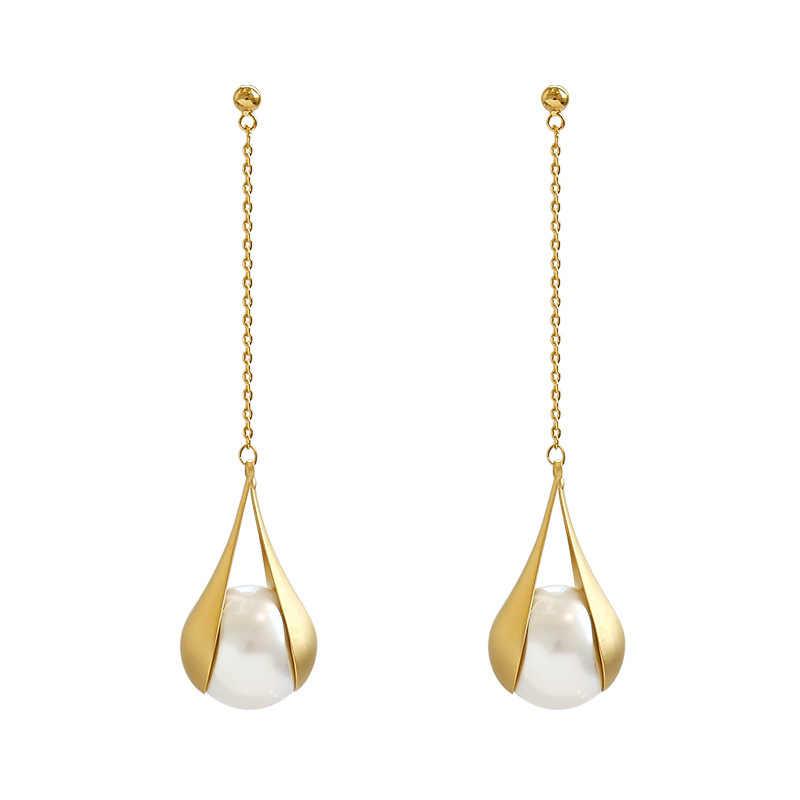 2019 nouveauté métal à la mode goutte d'eau femmes balancent boucles d'oreilles longues gland boucles d'oreilles français élégant perle boucles d'oreilles femme bijoux