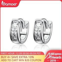 Bamoer genuíno 925 prata esterlina deslumbrante zircão cúbico geométrico pequeno parafuso prisioneiro brincos para mulher prata esterlina jóias sce515