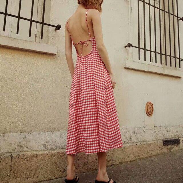 KUMSVAG Women Summer Plaid Dress 2021 Sleeveless Strapless Backless Female Elegant Street Mid-Calf Dresses Vestidos 2