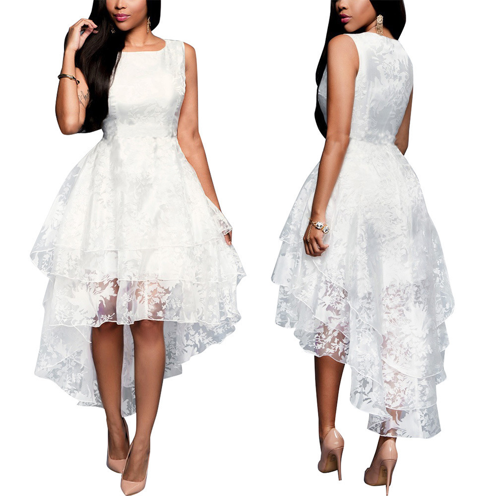 BacklakeGirls High Low Sleeveless Tulle White Cocktail Dresses  A Line 2020 Night Party Dress Zipper Back Vestidos De Fiesta