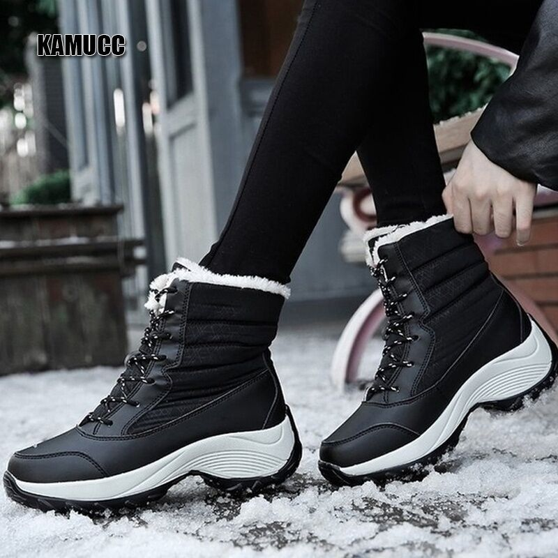 2019 Women Snow boots Waterproof Non-slip Parent-Child Winter Boots Thick Fur Platform Waterproof and Warm Shoes Plus Size 31-42 46
