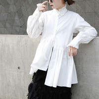 Female Shirt 2020 Autumn Lace Stand Collar Women Shirts Hypotenuse Cuff White Irregular Long Coat Female Harajuku Tops