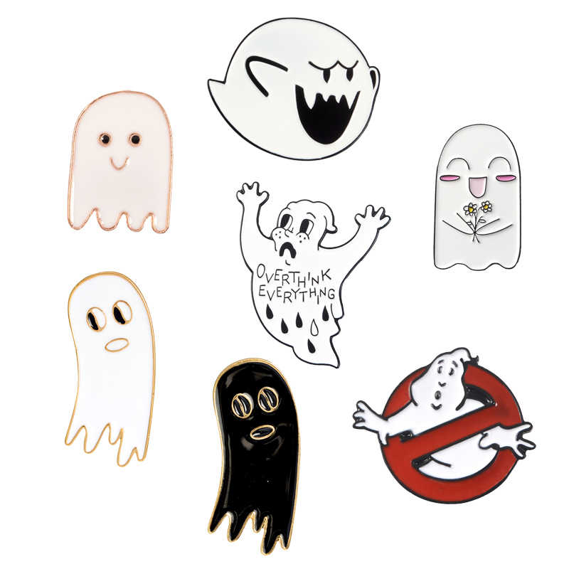 "Cartoon Ghost Lapel Metal Pins ""OVERTHINK EVERYTHING"" Prohibition icon Brooches Badges Clothes Pins Jewelry Gifts For Friends"
