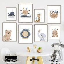 Nordic Posters And Prints Sun Rainbow Bear Elephant Giraffe Sloth Wall Art Canvas Painting Cartoon Wall Pictures Kids Room Decor