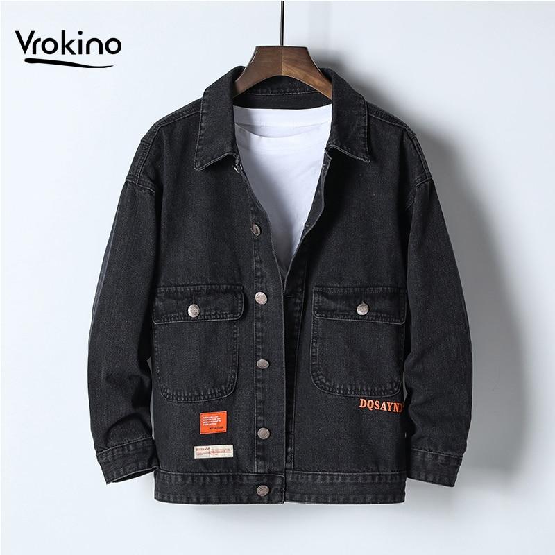 Мужская джинсовая куртка большого размера 4XL 5XL 6XL, модная черная джинсовая куртка в стиле хип хоп на осень и зиму, 2019 Куртки      АлиЭкспресс