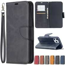 Flip Leather Case For iPhone 12 Pro Max 11 Pro SE2020 X XS XR XSMax 8 8Plus 7 7Plus 6S Plus 5S SE Sheepskin Cover With Card Slot