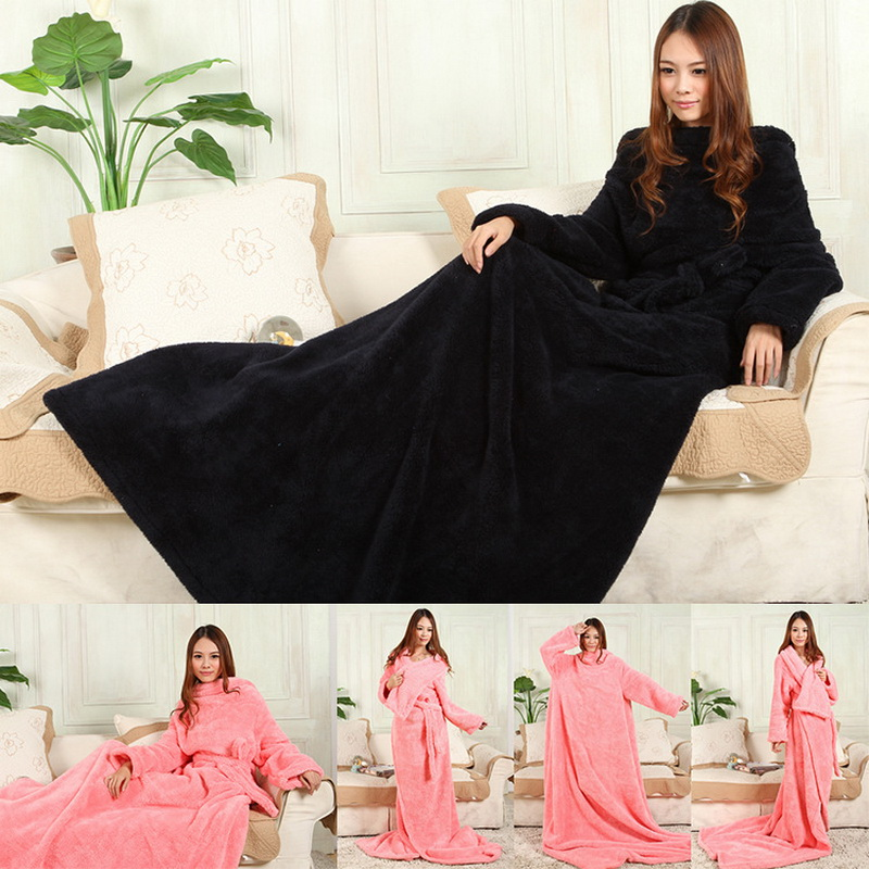 Details about  /Coral Fleece Blankets Sleeves Super Soft Warm Outdoor Adult Winter Hooded TV