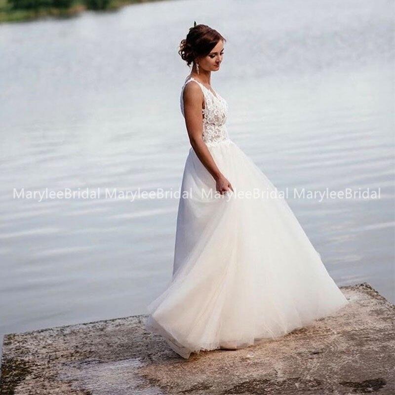 Flash Sale 2020 A Line Beach Wedding Dresses Summer Boho