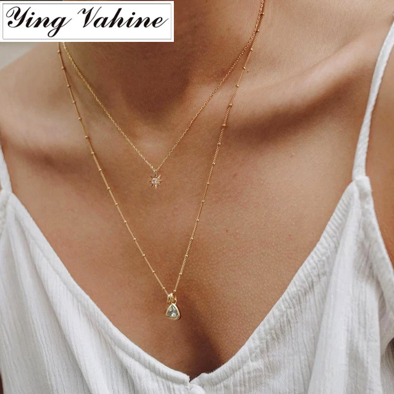 Ying Vahine 100% 925 Sterling Silver Star Pendant Necklaces For Women