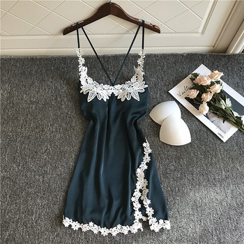 Fashion Nightdress Silk Robe Sexy Women's Nightgown U-neck Sleepwear Lace Night Dress Lingerie For Female Homewear - discount item  35% OFF Women's Sleep & Lounge