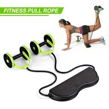Tension Collapsible Elastic Rally Double-Wheeled Ab Rollers Pull Rope Fitness Machine Resistance Home Workout Equipment