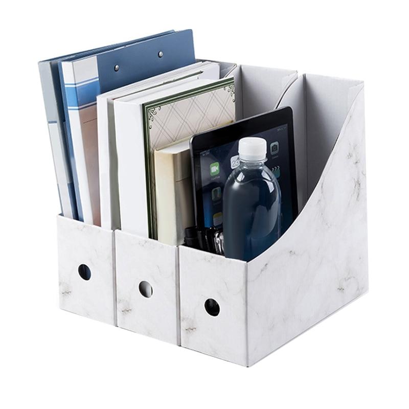 Document Rack File Holder Storage Box Magazine School Pencil Foldable Paperwork Desk Organiser Kraft Paper Simple