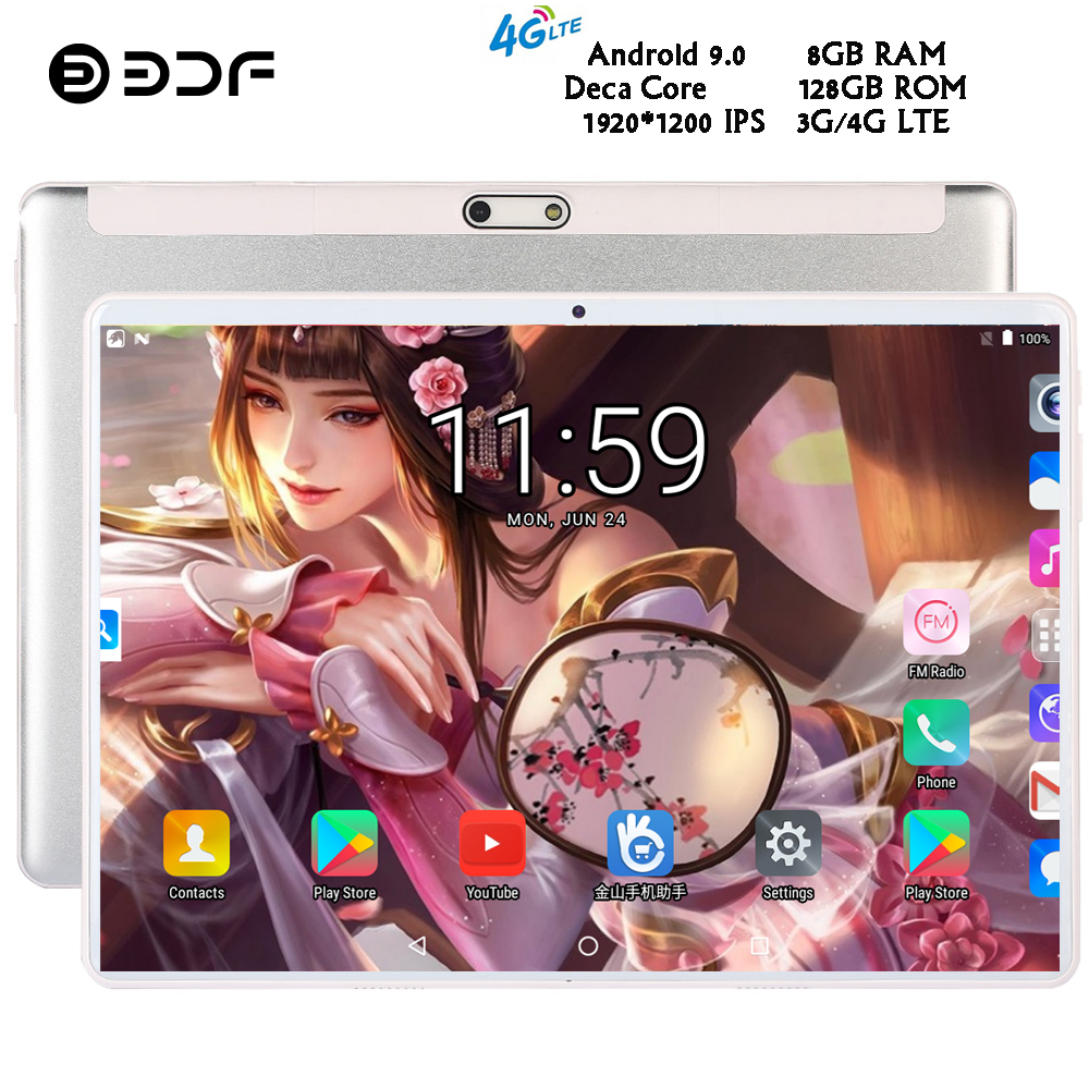 BDF 2020 New 10 Inch 4G LTE Tablet Pc 10/Ten Core 8GB RAM 128GB ROM 1920*1200 IPS 2.5D Tempered Glass 10.1 Tablets Android 9.0