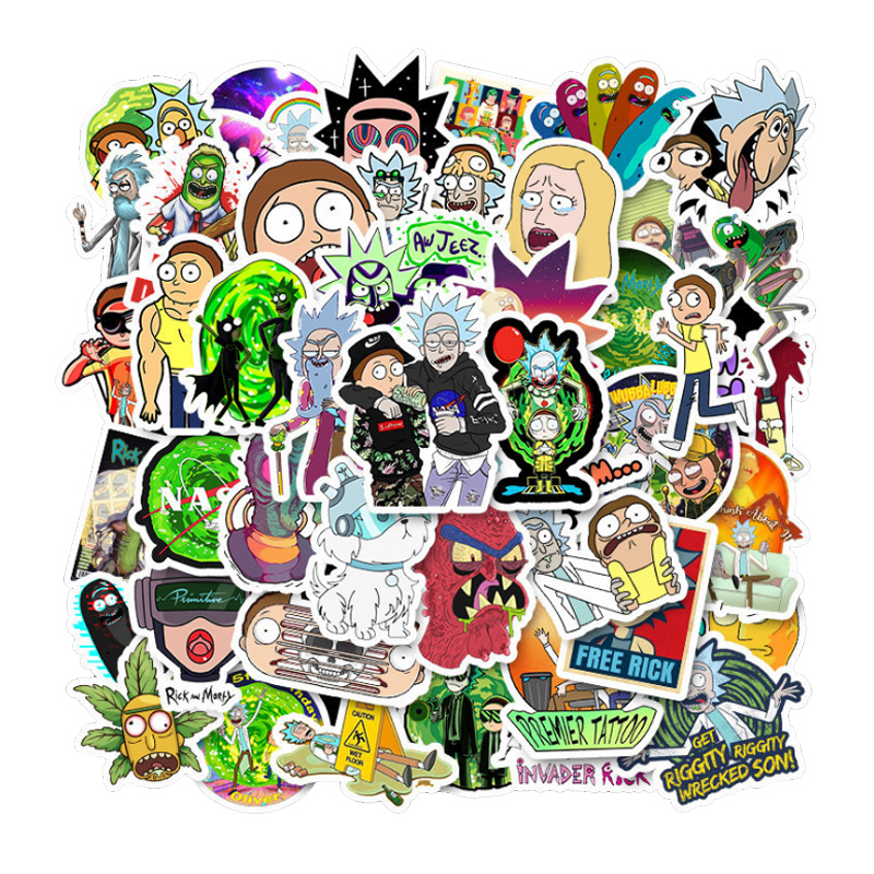 50 Pcs American Drama Rick And Morty Stickers Decal For Luggage Snowboard Fridge  Laptop  Bicycle  Guitar  Waterproof Stickers