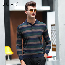 UCAK Brand Sweaters Men 2020 New Arrival Spring Autumn Casual Turn-down Collar Striped Wool Fashion Pullover Sweater Men U1030