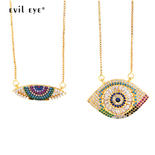 EVIL EYE Colorful Zircon Pendant Necklace Gold Color Chain Micro Pave Turkish Eye Charm Jewelry for Women Female LE186