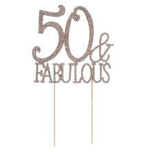 Cake-Topper Birthday-Party Rhinestones-Decorative Party-Supplies Anniversary for 50th