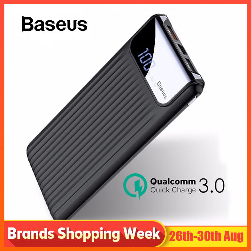 Baseus Usb-Power-Bank Powerbank-Battery-Charger QC3.0 Quick-Charge Xiaomi iPhone X Samsung