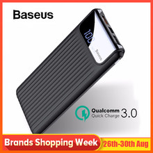 Baseus 10000mAh Quick Charge 3.0 USB Power Bank สำหรับ iPhone X 8 7 6 Samsung S7 Edg Xiaomi Powerbank แบตเตอรี่ Charger Bank QC3.0(China)