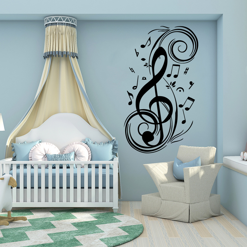 Fashion Music Notes DIY Home Decor Wall Decals Pvc Mural For Music Room Art Poster vinyl Kids Room Stickers Art Decoration