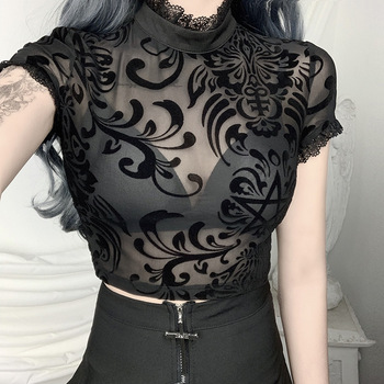 Sexy black flocking see-through T-shirt women lace edge all-match short-sleeved sexy top with navel