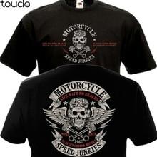 Short Sleeve Tshirts T-shirt MOTORCYCLE SPEED Biker Chopper Double Side