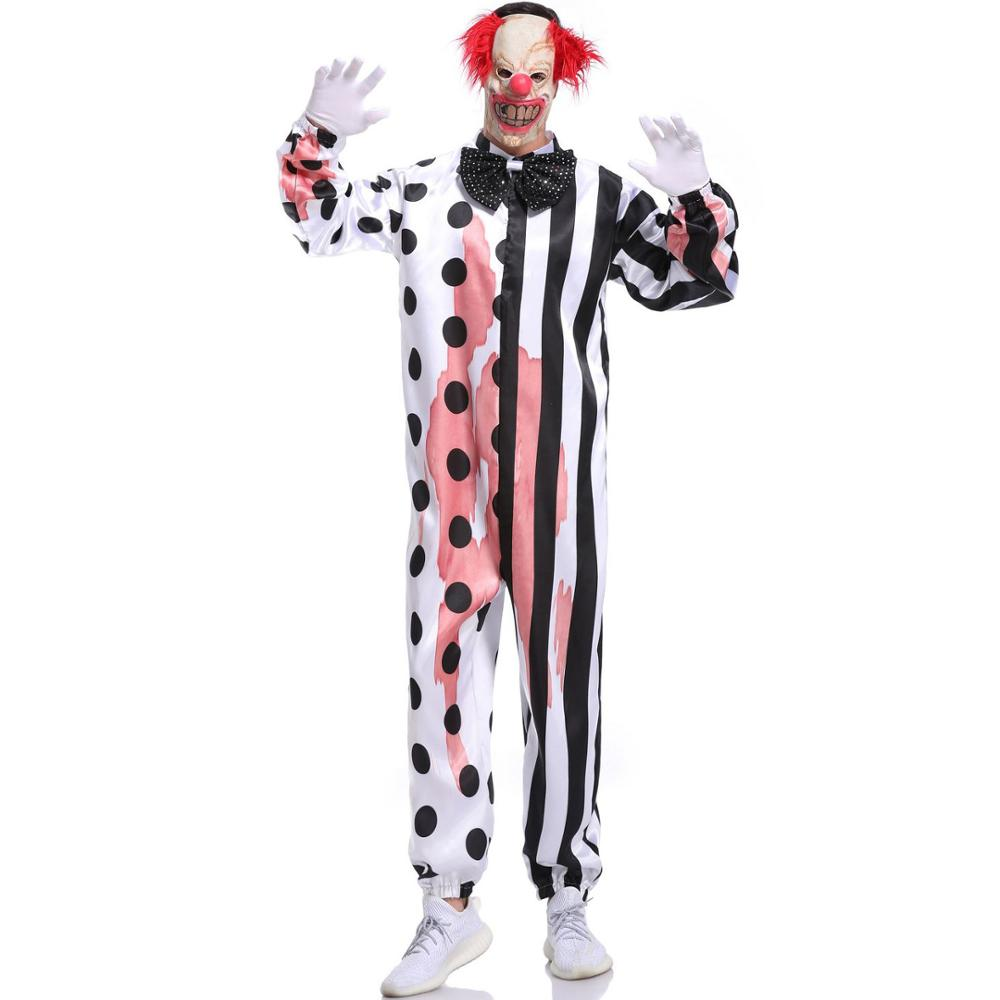 Costumes de Clown d'horreur sanglante adulte tenue de jeu de rôle de fête de mascarade d'halloween avec des ensembles de fête de masque
