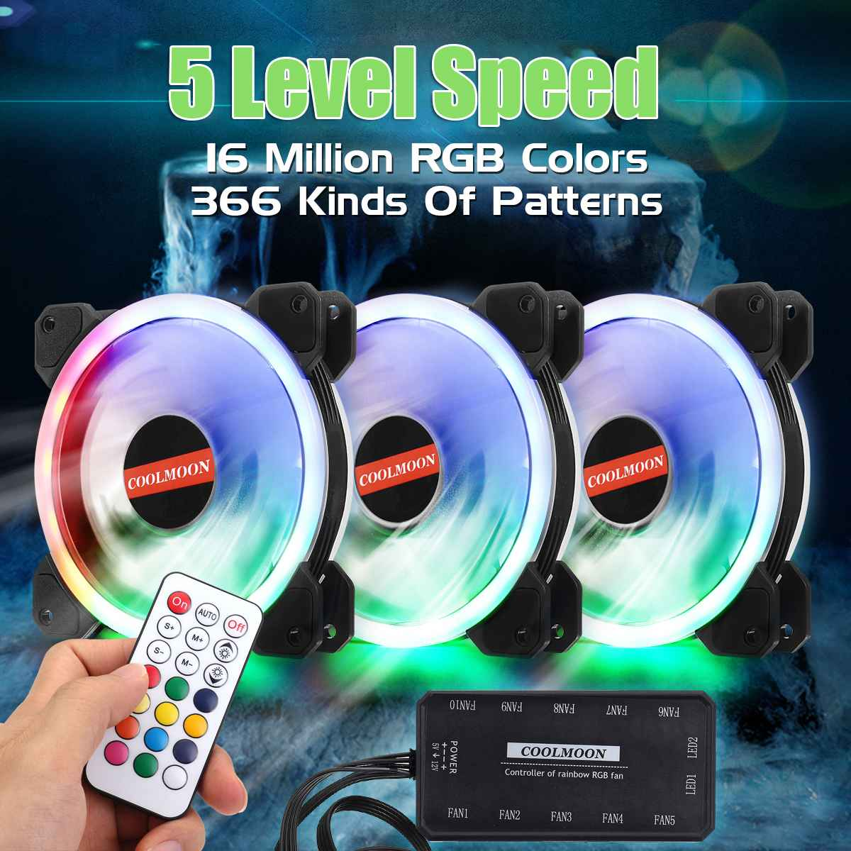 3pcs Computer PC Case Cooling Fan Cool RGB Adjust Fan Cooler Speed 120mm Quiet IR Remote Control Computer Cooler Cooling RGB Fan