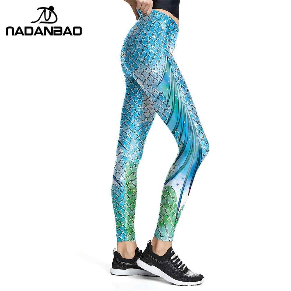 NADANABO Neue Blau Wonder Meerjungfrau Leggings Gradient Farbe Fisch Skala Gedruckt Hosen Workout Elastische Leggins Hohe Taille Legins