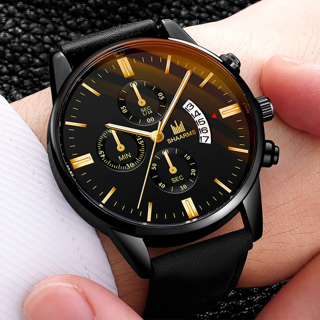 Relogio Masculino watches men fashion Sport box stainless steel leather strap watch Quartz business wristwatch Reloj Hombre 2019