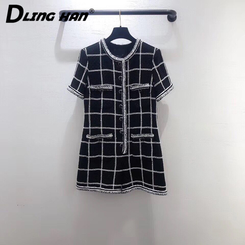 LINGHAN High Quality Tweed Plaid Playsuits Fashion Button Short Sleeve Black Slim Jumpsuits + Silk Lining Designer New