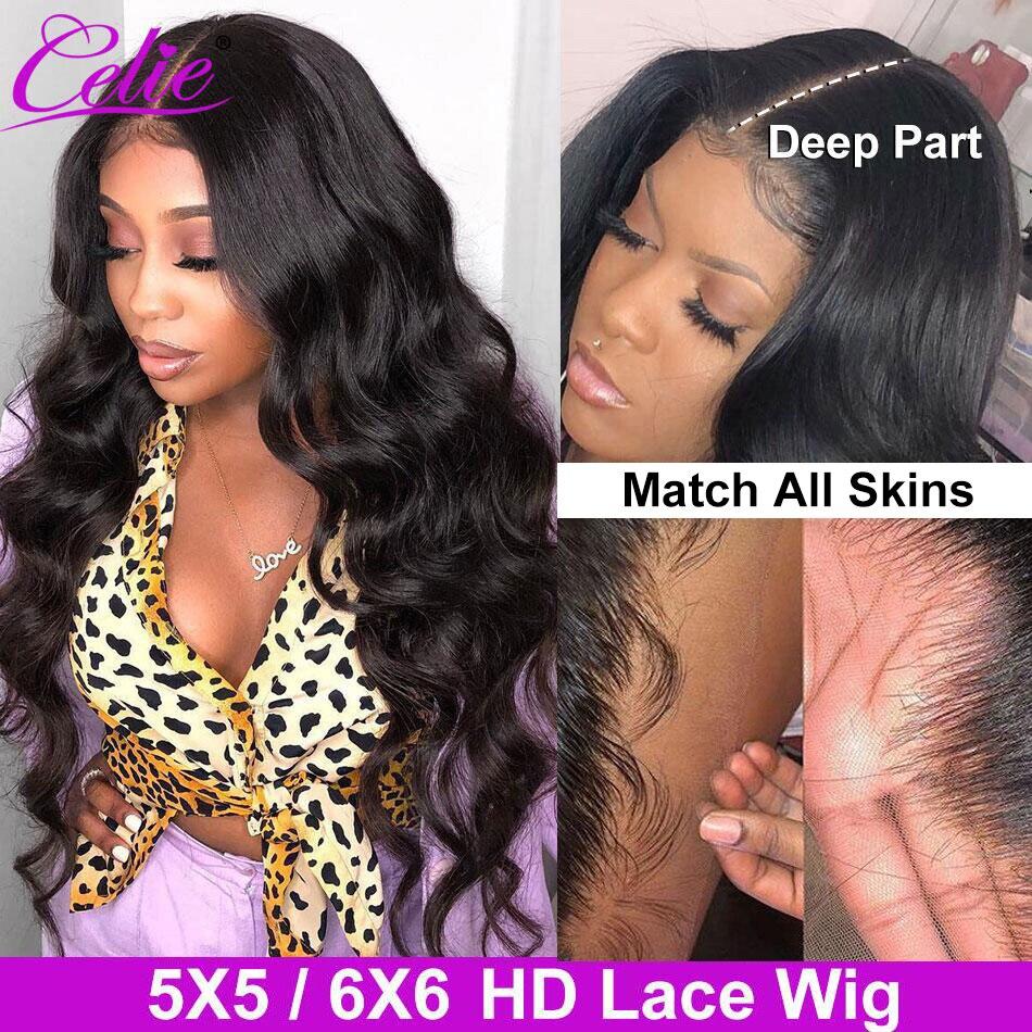 Парик Celie Hair Body Wave HD, прозрачный, 5 Х5, 6 х6, 30 дюймов, кружевной передний парик, 250 плотность, волнистый, HD кружевной передний парик