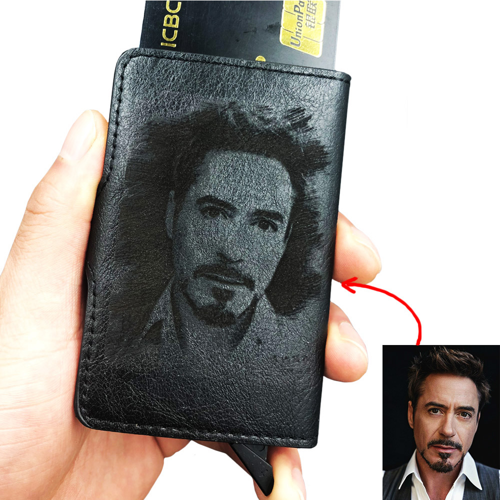 Men's Credit Card Holder Photo Engraving Anti RFID Blocking Leather Small Wallet ID Card Case Metal Protection Purse Carteria