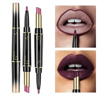 Batom mate pudaier de duas pontas, maquiagem à prova de água, lápis e delineador labial vermelho nude 16 cor