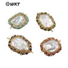 Wt jp206 wkt разноцветные каменные бусины из латуни с проволокой